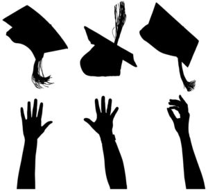 silhouette on white background of hands tossing mortarboards