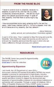 Screenshot of RAISE September 2019 e-newsletter